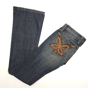 NWT Frankie B Butterfly Embroidered Jeans Sz 0